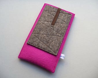 """iPhone 4,5,6,7,8,X sleeve """"pink pocket"""", pure new wool felt, custom size, shock-absorbing, insulating, water-repellent, Samsung case iPod"""