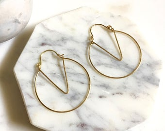 Geometric hoop earrings, Chevron hoop earrings, minimalist hoop earrings, gold hoop earrings, delicate hoop earrings, delicate wire earrings