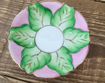 Vintage Pink Green Gold Flower Small Plate Ring Soap Dish