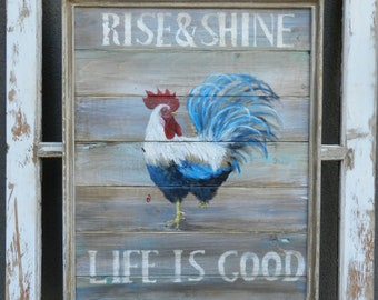 Rise and Shine, Rooster painting, farmhouse decor, Rooster sign, personalized wood sign, Rooster sign, Rustic wood sign, hand painted sign