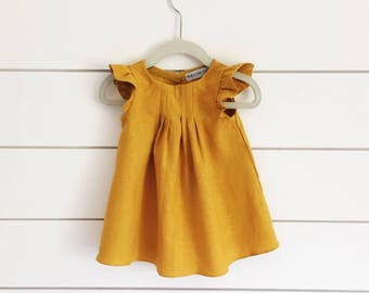 Mustard yellow linen dress, yellow baby dress, mustard yellow dress, yellow toddler dress, yellow linen dress, flutter sleeve dress, yellow