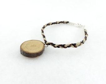 Wooden bracelet, little simple wood slice on hemp and leather braid