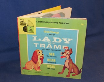 DISNEYLAND RECORD Lady and the Tramp 1954 Record and Read Along Book
