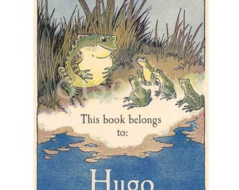 Personalized Bookplates - Vintage Frogs - Book Labels, Baby Shower Gift