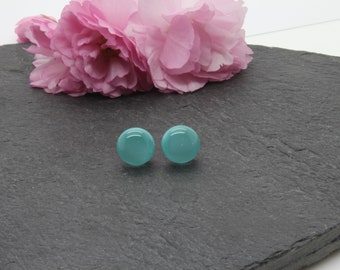 Turquoise stud earrings, sterling silver light blue turquoise earrings