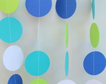 Garland - Baby Shower Decor, Ocean Theme, Boy Baby Shower, Circle Dot Garland, Shower Decoration, Gender Neutral Decor, Birthday Party Decor