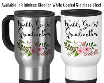 Travel Mug, World's Greatest Grandmother Gift From Grandchildren Gift For Grandmother Best Grandmother, Stainless Steel, 14 oz - Gift Idea