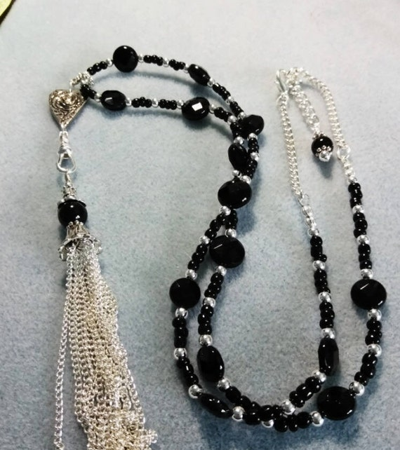 Black Onyx Heart Lanyard With Detachable Tassel L6151752