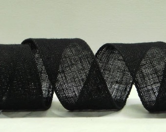 Wired Burlap Ribbon ~ 2.5 inch  Black Wired Burlap Ribbon ~ Natural Jute Ribbon ~ Ribbon For Wreaths & Crafts ~ 3 Yards