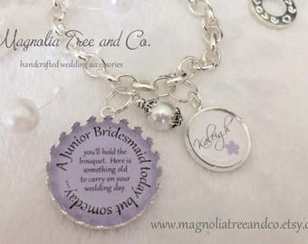 Junior Bridesmaid bracelet, bridal pendant, bouquet charm, flowergirl gift, personalized, custom, Today you hold the bouquet... KE06