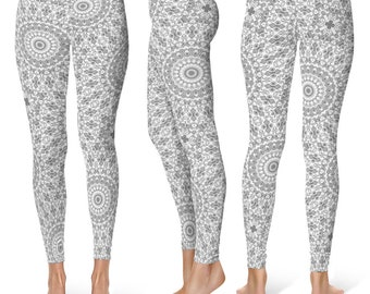 Gray Leggings Yoga Pants, Printed Yoga Tights for Women, Gray and White Mandala Pattern