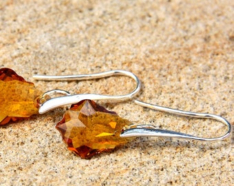 Lovely Earrings made with Swarovski Topaz Baroque Faceted Crystal