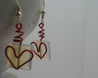 red heart earrings, Valentine earrings, dangle earrings wire work earrings
