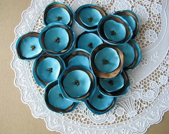 Handmade appliques- Satin fabric sew on flowers, fabric embellishments, flowers for crafts, flowers for headbands (15pcs)- TURQUOISE / BROWN