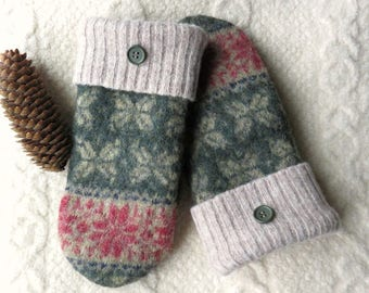 Green and Tan Mittens, Sweater Wool Mittens, Eco-Friendly Lined Felted Wool Mittens