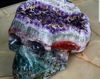 Huge Handmade amethyst skull 7.8 kilograms