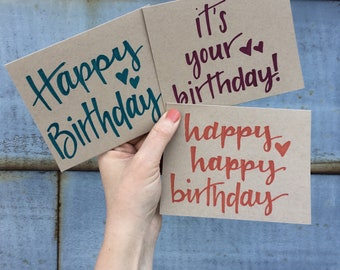 Set of 6 custom handlettered A2 Happy Birthday cards