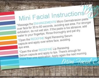 Rodan and Fields Mini Facial Cards Digital Download