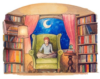 """Reading is Travel - Fine Art Print 8"""" x 10"""", Watercolor Illustration, Book Lover Art, Library Painting"""