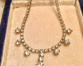 VINTAGE Clear Long Rhinestone Necklace jewelry in original box