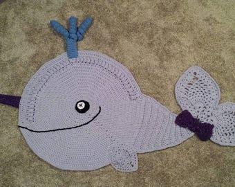 Handmade Crochet Narwhal Rug, Unicorn of the Sea