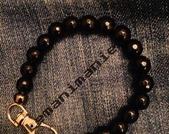 Men's bracelet black stones/black stones man bracelet