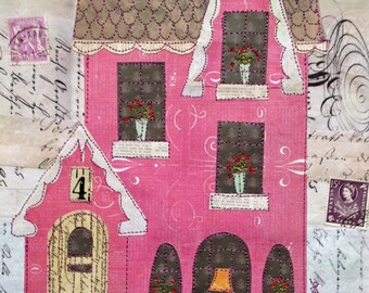 Pink Cottage in the Wood - mixed media paper and stitched collage, wall art