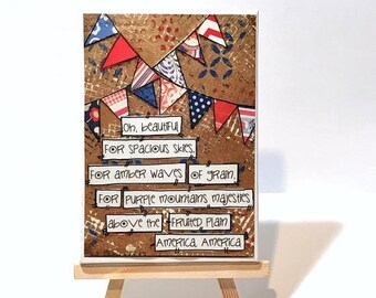 FIVE YEAR SALE Patriotic Print, Print and Easel Set, Mounted Print, Patriotic Flower, Usa, Oh Beautiful
