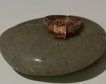 Bridal Jewelry Bridal Ring Lab Topaz Ring surrounded in CZ Wedding Ring  Topaz Ring size 8 1/2