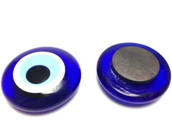 Glass Evil eye fridge Magnet - 4 cm - dark blue - Greek amulet - Protection - Home decoration - Greece Lucky charm