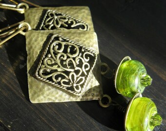 FIONA. Earrings. lime green and antique brass. with 20 gauge brass earwires