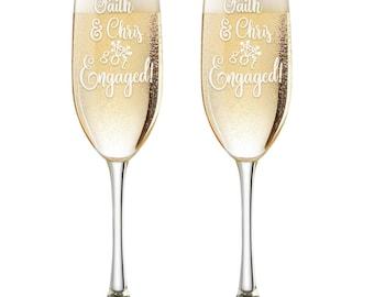 Just Engaged Personalized Champagne Glasses - Custom Engraved Engagement Toasting Flutes - Engagement Gift - Wedding Glasses - Got Engaged