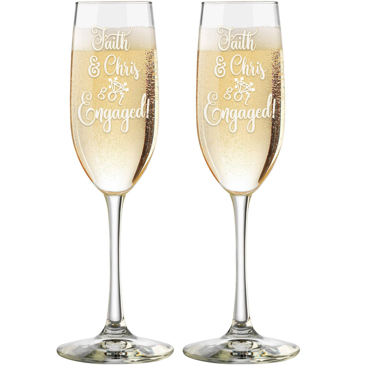 Just Engaged Personalized Champagne Glasses - Custom Engraved ...