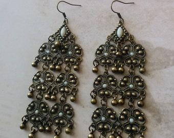 Vintage Style Filigree Chandelier Earrings, Bronze