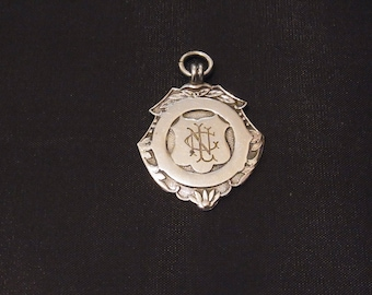 FREE SHIPPING Antique Sterling silver Sports Watch Fob Birmingham 1949 Vintage Silver Watch Fob 1949 Collectible Silver Watch Fob