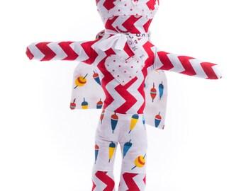 Rag doll superhero Miss Au bord du lac-Fabric rag doll
