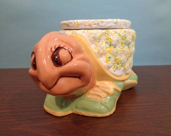 Never Been Used Ceramic Planter Turtle with Liner Pot, NOS, Handmade, Handpainted, Tortoise wearing Tennis Shoes, Splatter Glaze,