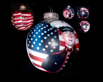 "Marine Memorial -1 Hand Painted Ornament (4"" Diameter) Full Wrap Around Design With ""Earned...Never Given"" in Old English Font!!!"