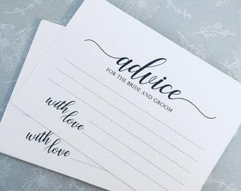10x Wedding Advice for the Bride and Groom - Advice Cards