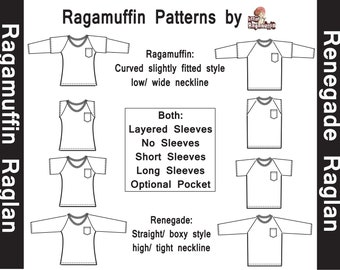 Raglan pdf sewing pattern Bundle - Ragamuffin & Renegade
