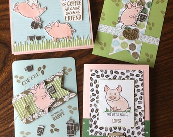 This Little Piggy Cards by Stampin' Up - Perked up Pigs - Pigs and Coffee