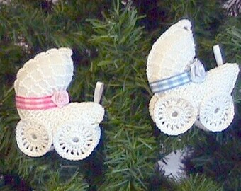 Crochet Baby Carriage Ornament - You Choose Which Color