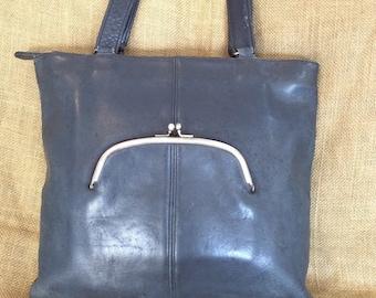 Rare vintage COACH Bonnie Cashin navy leather kisslock tote bag
