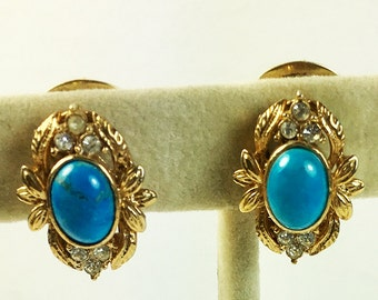 Floral Motif Earrings Oval Turquoise Stone Rhinestones  Clip Style 1960s Gold Tone Vintage