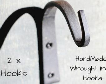 Set of 2 Wrought Iron Hook, Black Wrought Iron Hooks, Wrought Iron Hooks Hardware, Wrought Iron Hooks, Iron Hooks
