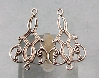 Art Nouveau Connector, Antique Silver, 4 Pc. AS432