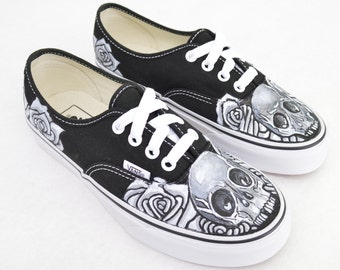 Black And White Skull And Rose on Black Vans Authentic - Custom Hand Painted Shoes