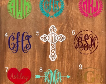 Monogram decals for cups/mugs/Yeti/Rtic/cars/phones FREE SHIPPING!