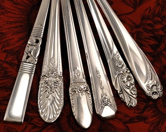 6 Floral Gumbo Soup Spoons Mismatched Vintage Silverplate Flatware Silver Plate Silverware Set A