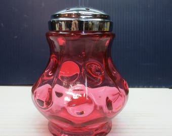 Early American Pattern Glass Fenton Inverted Thumbprint Sugar Shaker in Cranberry